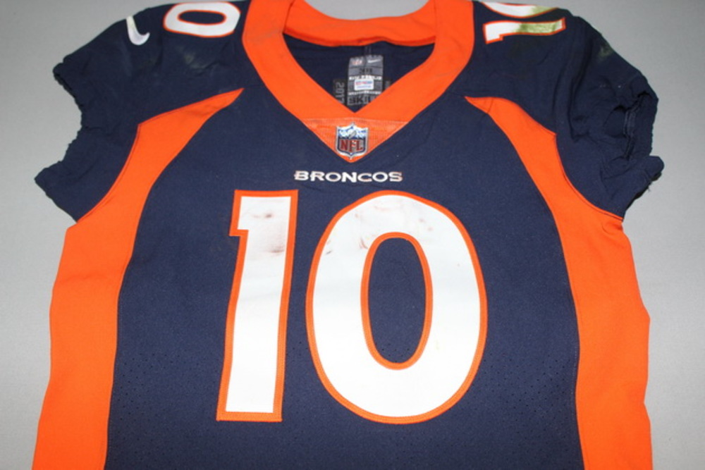 NFL Auction   CRUCIAL CATCH - BRONCOS EMMANUEL SANDERS GAME WORN ...