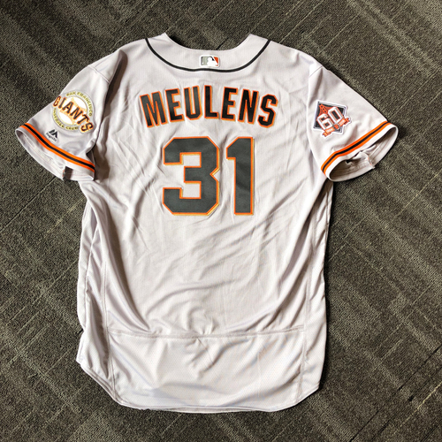 Photo of San Francisco Giants - Mother's Day Game-Used Jersey - #31 Hensley Meulens (size 50)