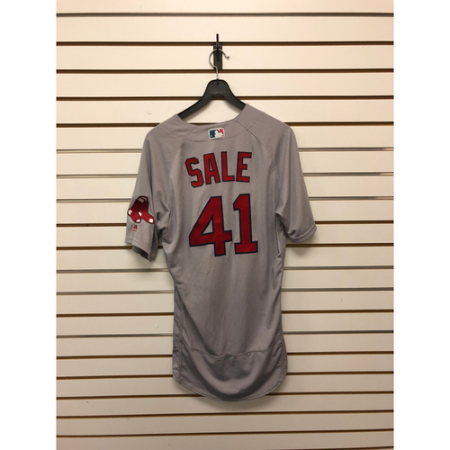 Photo of Chris Sale Game-Used May 6, 2018 Road Jersey - 3rd Win of the Season, 12 Ks