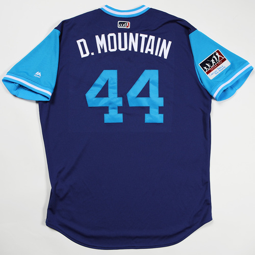 "Photo of Rich ""D. Mountain"" Hill Los Angeles Dodgers Game-Used 2018 Players' Weekend Jersey"