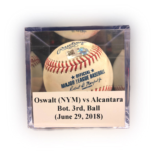 Photo of Game Used Baseball: Oswalt (NYM) vs Alcantara, Bot. 3rd, Ball (June 29, 2018)