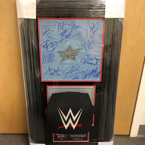 SummerSlam 2017 SIGNED Used Ring Canvas & Used Turnbuckle Commemorative Plaque (#1 of 12)
