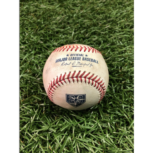 Photo of 20th Anniversary Game Used Baseball: Tyler Glasnow strikes out Reese McGuire - September 28, 2018 v TOR