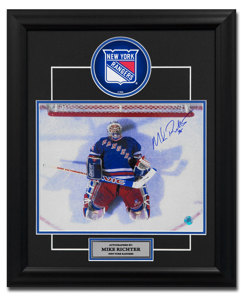 Mike Richter New York Rangers Autographed Overhead In Crease 19x23 Frame