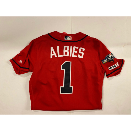 Photo of Ozzie Albies 2019 Game Used Red Jersey - Worn 4/5/19