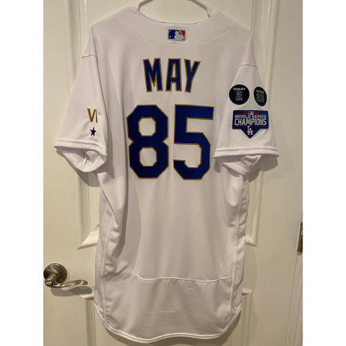 Photo of Dustin May Special-Edition Home Opening Weekend Gold-Outlined Game-Used Jersey