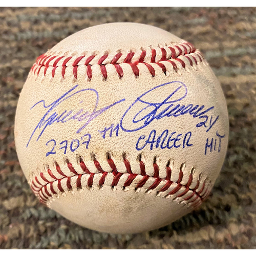 """Photo of Cabrera Exclusive! Autographed Game-Used Baseball: Miguel Cabrera Single (5/3/19) Autographed with Inscription """"2707th Career Hit"""" (MLB AUTHENTICATED)"""