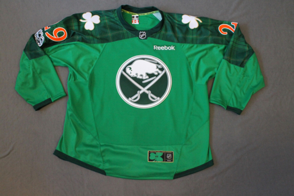 online retailer 09833 f8593 sale buffalo sabres green jersey auction a9b74 d1c20