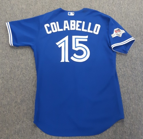 Photo of Authenticated Game Used Postseason Jersey - #15 Chris Colabello (October 23, 2015: ALCS Game 6). Colabello went 1-for-4. Size 48.