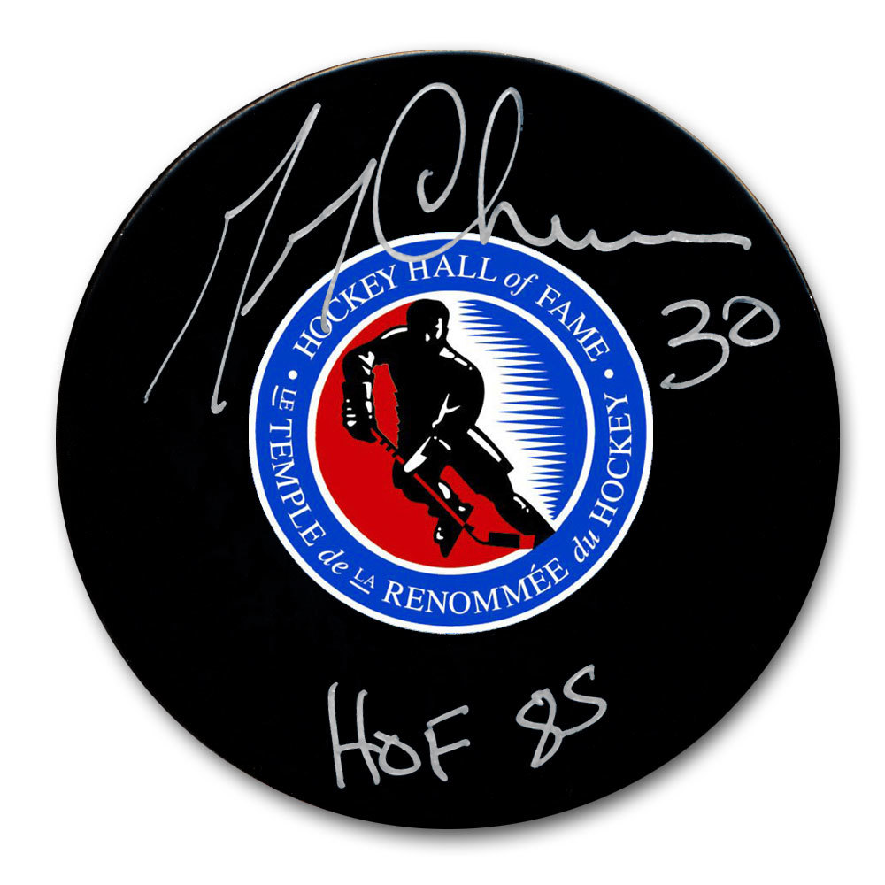 Gerry Cheevers Hockey Hall of Fame HOF Autographed Puck