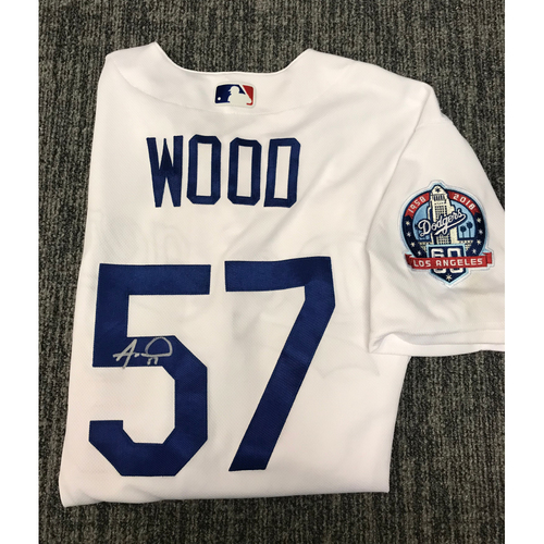 Photo of Kirk Gibson Foundation Auction: Alex Wood 2018 Game-Used Autographed Los Angeles Dodger Jersey