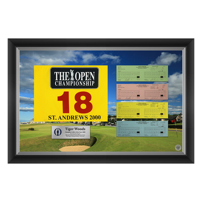 6 of 50 L/E Tiger Woods, The 129th Open 1,2,3 & Final Round Scorecard Reproductions and Souvenir Pin Flag Framed