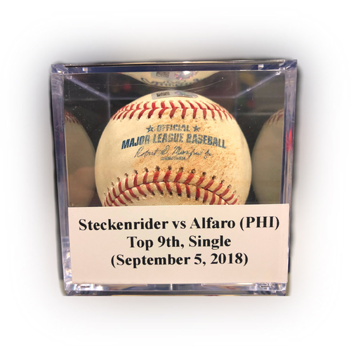 Photo of Game Used Baseball: Steckenrider vs Alfaro (PHI), Top 9th, Single (September 5, 2018)