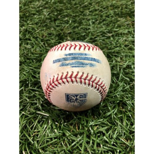 Photo of 20th Anniversary Game Used Baseball: Francisco Lindor strikeout and Michael Brantley single off Jalen Beeks - September 10, 2018 v CLE