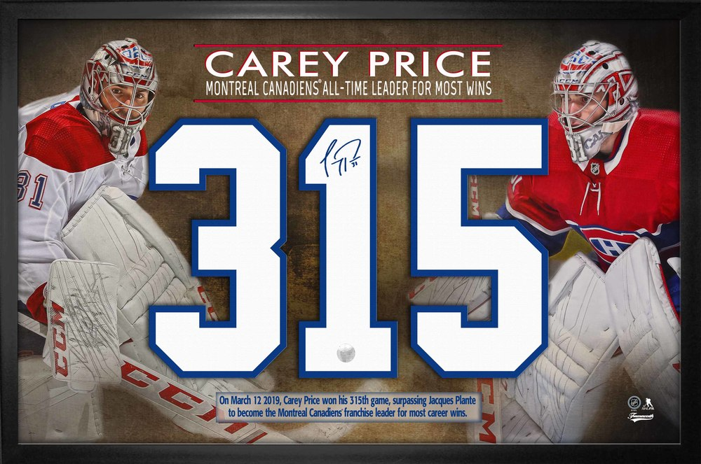 Carey Price Signed Jersey Number Frame 315 Wins Collage Nhl Auctions