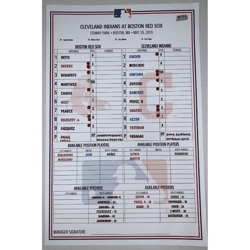 Photo of Cleveland Indians vs Boston Red Sox May 28, 2019 Game Used Lineup Card - Indians Win 7 to 5