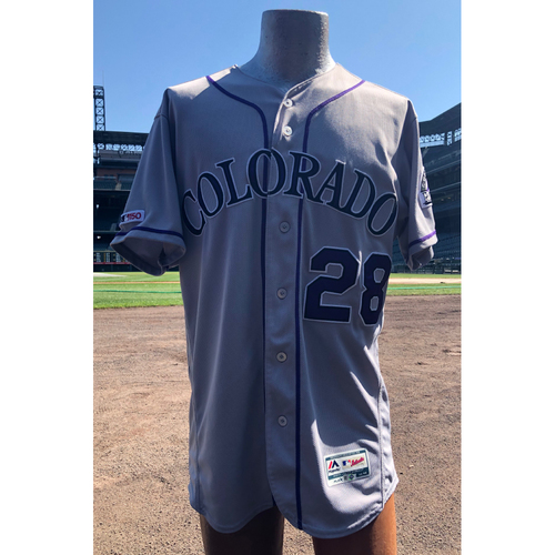 Photo of Colorado Rockies Game-Used Nolan Arenado Gray 150th Anniversary Jersey