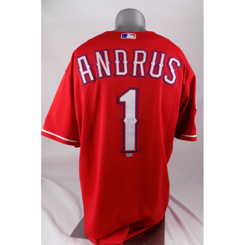 Photo of Final Season Game-Used Red Jersey - Elvis Andrus - 8/17/2019, 9/15/2019