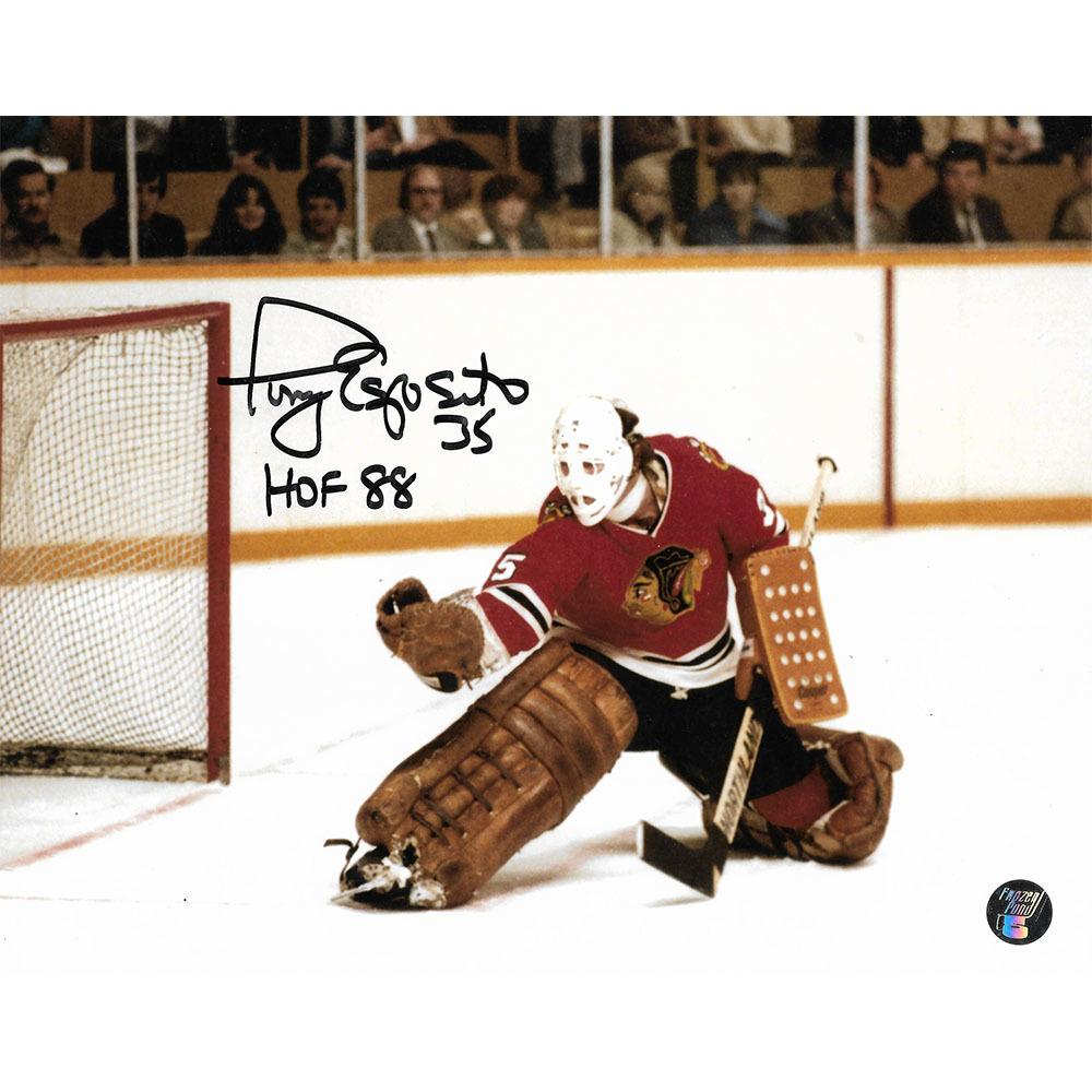 Tony Esposito Autographed Chicago Blackhawks 8X10 Photo w/HOF 88 Inscription