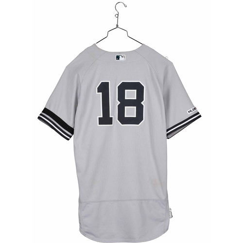 Photo of Didi Gregorius New York Yankees Game-Used #18 Gray Jersey vs. Toronto Blue Jays on August 11, 2019 - DNP - Size 46