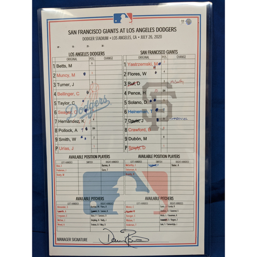 Photo of Game Used Lineup Card: July 26th 2020 Dodgers v Giants