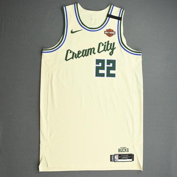 Image of Khris Middleton - Milwaukee Bucks - Game-Worn City Edition Jersey - 2019-20 NBA Season Restart with Social Justice Message
