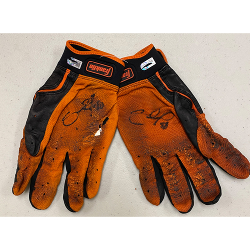 Photo of 2020 Black Friday Sale - #48 Pablo Sandoval Team Issued Autographed Black & Orange Franklin Batting Gloves
