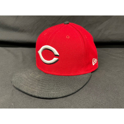 Photo of Tyler Naquin -- Game-Used Cap -- Worn During Wade Miley No-Hitter on May 7, 2021 - Reds @ Indians -- Size 7 1/4