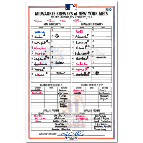 Photo of Mike Piazza - Replica Lineup Card - Inducted into the Mets Hall of Fame on 9/29/13