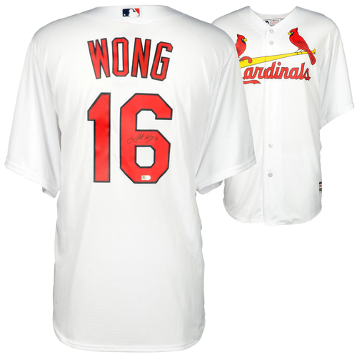 Photo of Kolten Wong St. Louis Cardinals Autographed White Replica Jersey