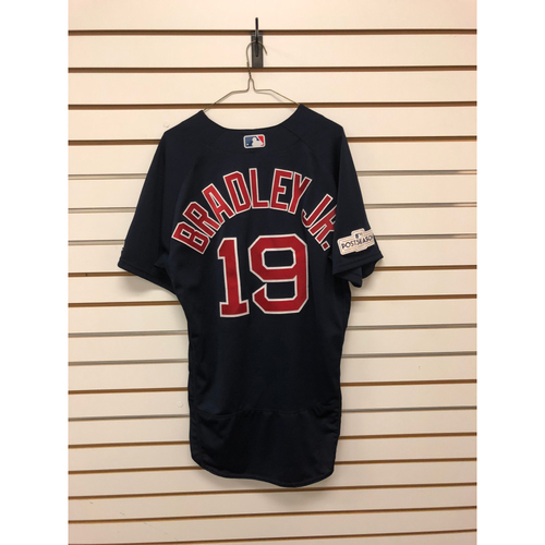 Photo of Jackie Bradley Jr Game-Used September 22, 2017 Road Alternate Jersey