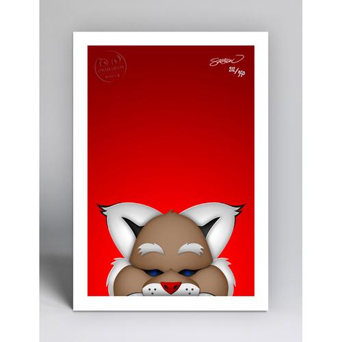 Photo of D. Baxter the Bobcat - Limited Edition Minimalist Mascot Art Print by S. Preston  - Arizona Diamondbacks