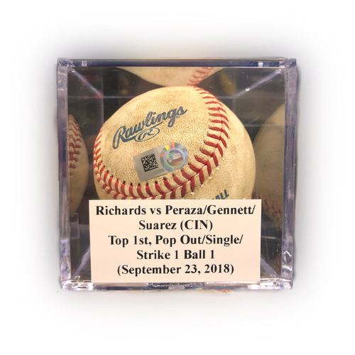 Photo of Game Used Baseball: Richards vs Peraza/Gennett/Suarez (CIN), Top 1st, Pop Out (Peraza)/Single (Gennett)/Strike 1 Ball 1 Suarez - September 23, 2018
