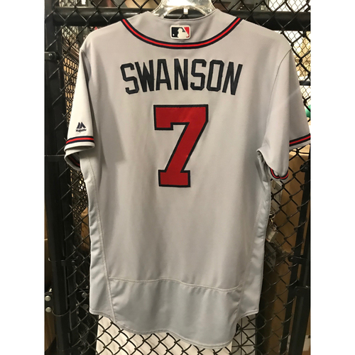 Photo of Dansby Swanson Game-Used Road Grey Jersey  - 9/25/17