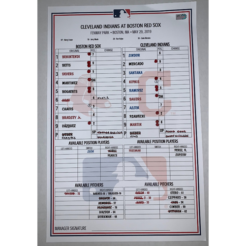 Photo of Cleveland Indians vs Boston Red Sox May 29, 2019 Game Used Lineup Card - Indians Win 14 to 9