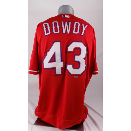 Photo of Final Season Game-Used Red Jersey - Kyle Dowdy - 3/30/2019