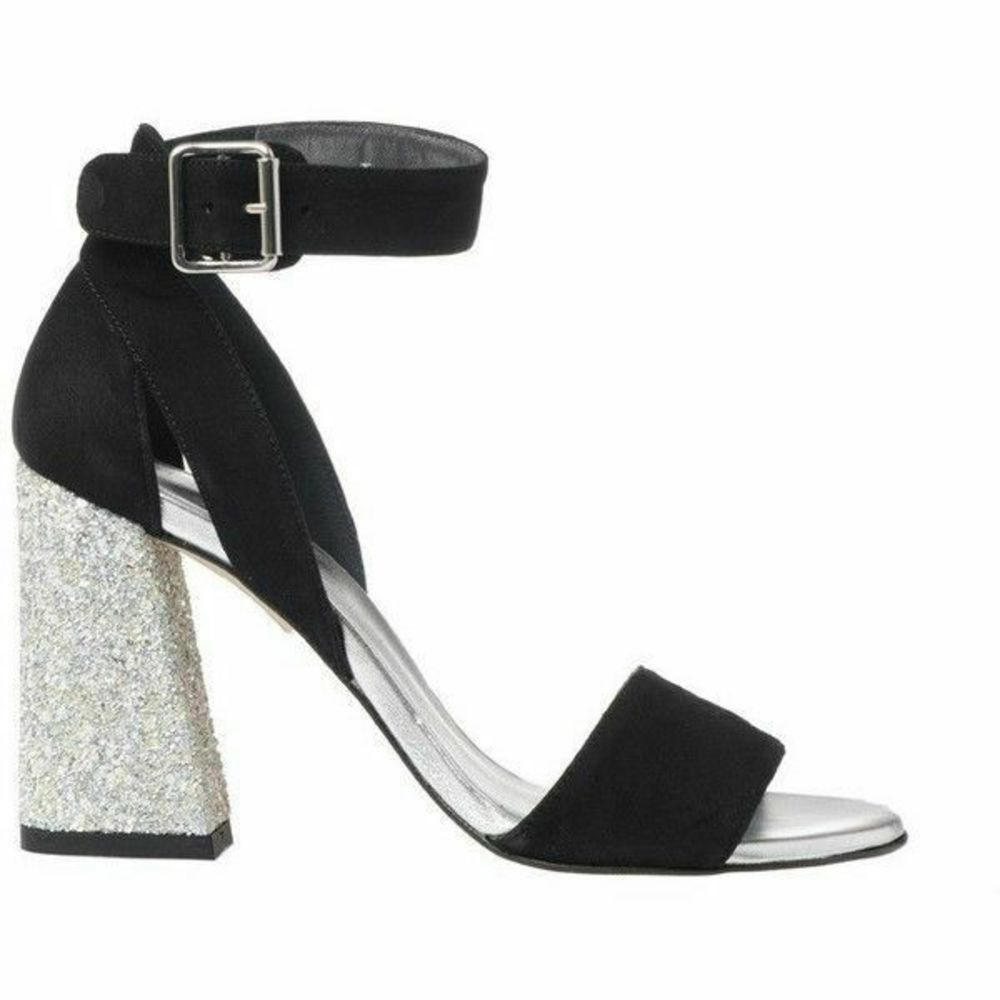 Photo of Stuart Weitzman Glitter Block Black Suede Heels