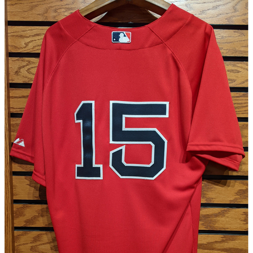 Photo of Dustin Pedroia #15 Team Issued Red Home Alternate Jersey