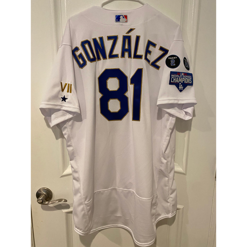 Photo of Victor Gonzalez Special-Edition Home Opening Weekend Gold-Outlined Game-Used Jersey