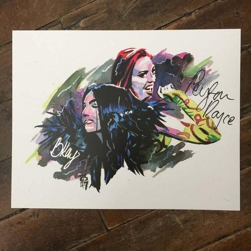 Billie Kay & Peyton Royce SIGNED 11 x 14 Rob Schamberger Print