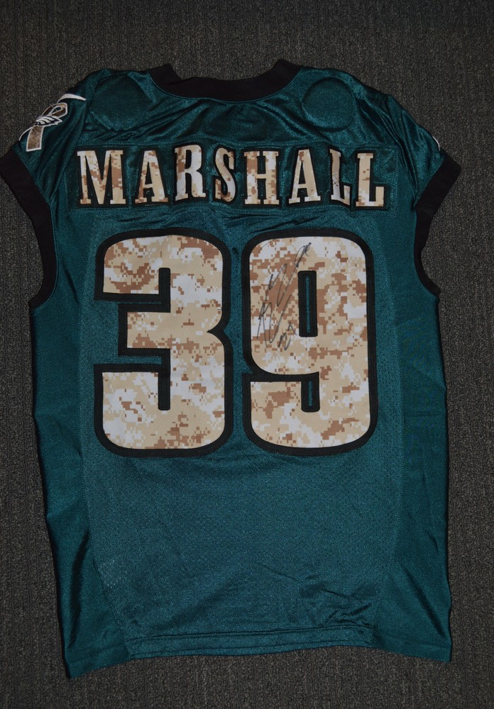 EAGLES - Byron Marshall SALUTE TO SERVICE SIGNED PRACTICE WORN JERSEY NOVEMBER 2017 WITH CAMO NUMBERS