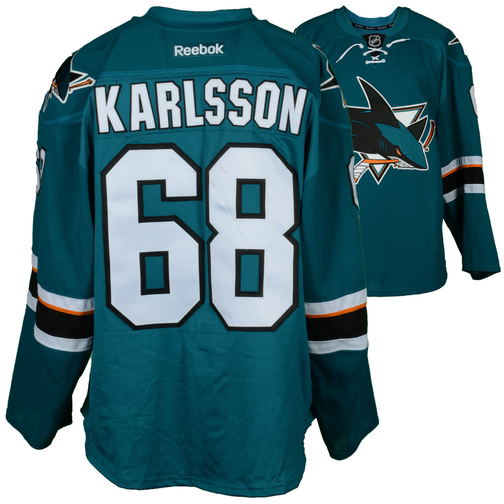 Melker Karlsson San Jose Sharks Game-Used Home Teal #68 Jersey Used vs. Calgary Flames on April 8, 2017 - Size 56