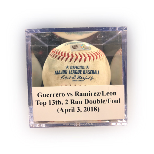 Photo of Game Used Baseball: Guerrero vs Ramirez/Leon, Top 13th, 2 Run Double (Ramirez)/Foul (Leon) - April 3, 2018