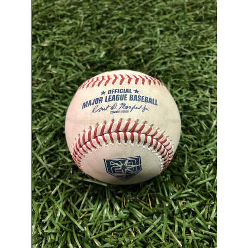 Photo of 20th Anniversary Game Used Baseball: Ian Kinsler single off Jalen Beeks - August 24, 2018 v BOS