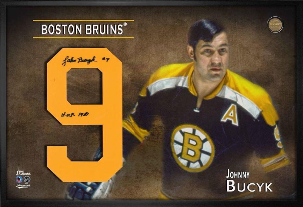 Johnny Bucyk Signed Jersey Number Framed Print Bruins Black