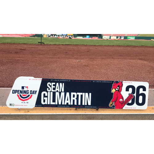 Photo of Cardinals Authentics: Team-Issued Sean Gilmartin 2018 Opening Day Locker Tag