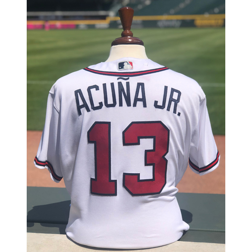 Photo of Ronald Acuna Jr. Game Used Jersey - Home Run - 8/11/2018 - 2018 NL Rookie of the Year