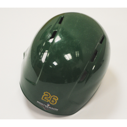 Photo of Matt Chapman Game-Used 2019 Kelly Green Regular Season and AL Wild Card Game Helmet
