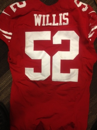 NFL Auction | PATRICK WILLIS GAME WORN 49ERS JERSEY 10/5/2014