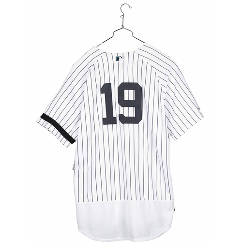 Photo of Masahiro Tanaka New York Yankees Game-Used #19 White Pinstripe Jersey vs. Houston Astros on June 22, 2019 - Size 52